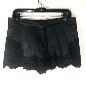 Elie Tahari Leather Lace Shorts